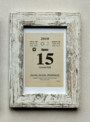RAMKA bielona rustykalna 10x15 cm