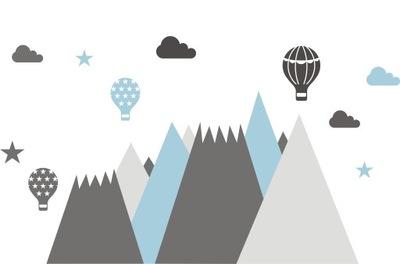 samolepky na stenu pre deti hory balóny oblaky