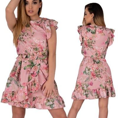 Piękna Sukienka w kwiaty przed kolano Masinix S