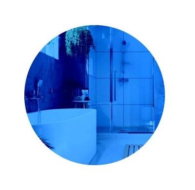 Nástenné zrkadlo, guľaté, 80 cm, modré