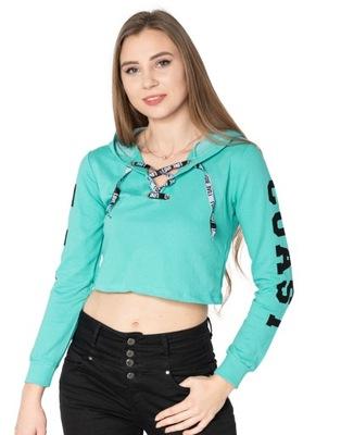 Młodzieżowa Krótka Bluzka Crop Top Bluza 843-8 r L