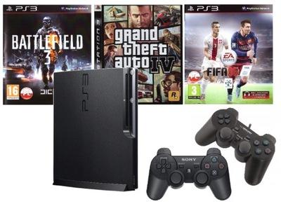 KONSOLA SONY PS3 SLIM 320GB + GRY + 2 PADY