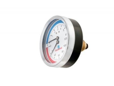 Ciferníkový termomanometer 80 mm 0 - 120 stupňov C 10B 1/2 palca