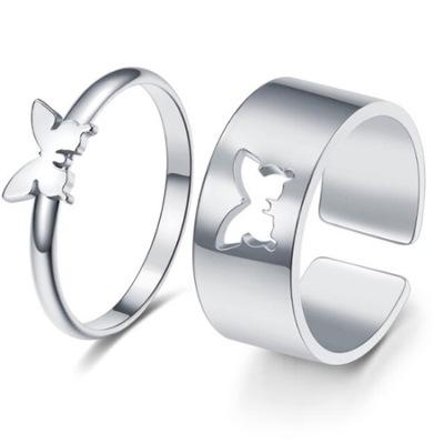 Zestaw 2 pierścionków - Obrączki motyl SREBRNE