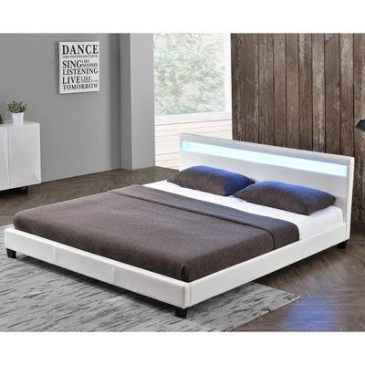 кровать кожа 160х200 + матрас 23 см Париж LED