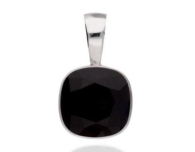 Zawieszka srebrna 925 czarny kwadrat Swarovski