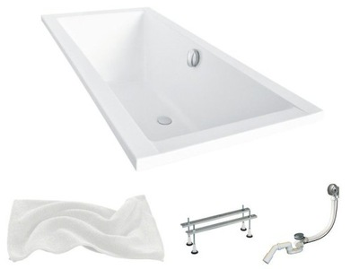 BATHTUB QUADRO SLIM 175x80 BESCO + SIPHON AUTOMATIC!