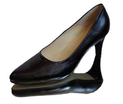 Skórzane czółenka tegość H na szeroką stopę 39