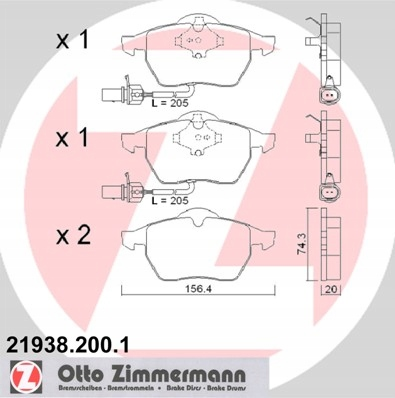 диски колодки zimmermann p + t audi a4 b6 288mm, фото 3