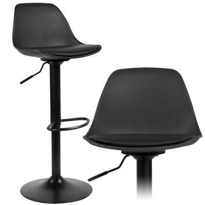 HOKER Krzesło Barowe Stołek Industrialny CZARNY