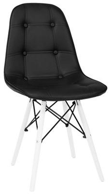 Krzesło nowoczesne CZARNE z ekoskóry z guzikami