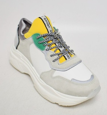 Bronx Basiley Green and Yellow Leather Chunky Trainers