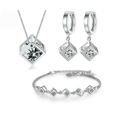 komplet biżuterii srebrnej 925 prezent Pudełko