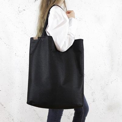 Wielki czarny shopper, torba matowa teksturowana