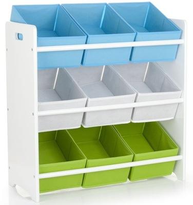 Regał Junior w kolorze białym, 3 półki, pojemnik