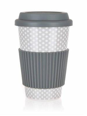 ceramiczny kubek z silikonową pokrywką Banquet0,4l