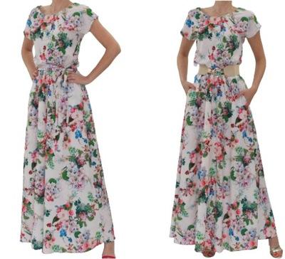 Maxi długa kremowa sukienka w kwiaty r.40 (34- 54