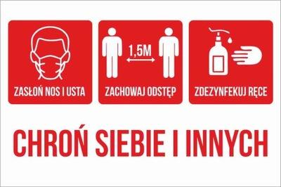 Dezynfekcja Odstęp Maseczki - Naklejka 20x30cm