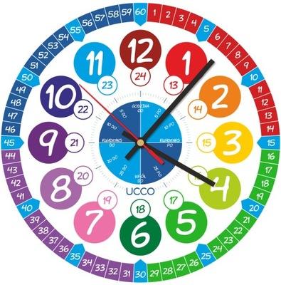 Zegar ścienny Edukacyjny dla Dzieci Nauka godzin