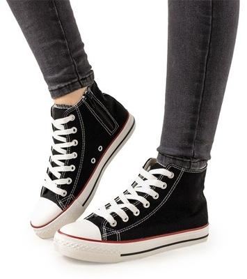 Czarne trampki za kostkę damskie obuwie XN49 38