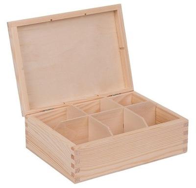 Drewniane PUDEŁKO SKRZYNKA na herbatę 6 przegród