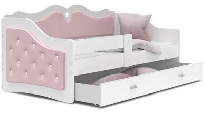 кровать обиты ЛИЛИ 160x80 светлый РОЗОВЫЙ + матрас
