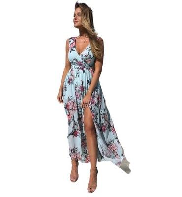 Zwiewna sukienka w kwiaty z rozcięciem maxi 42 XL