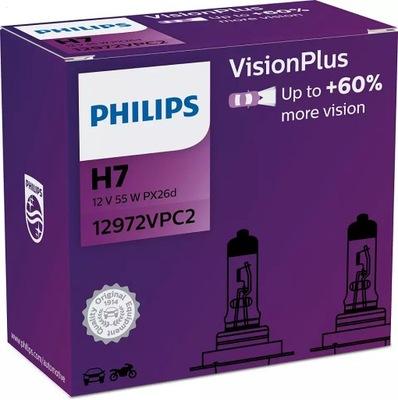 ŻARÓWKI PHILIPS H7 VISION PLUS +60% 12V 55W 2 szt.