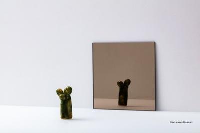 Lustro brązowe 4 mm szlifowane- kwadrat - 10x10 cm