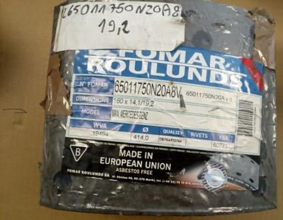 RL65011750N20A8 OKLADZINY DE FRENADO PARTE DELANTERA MAN