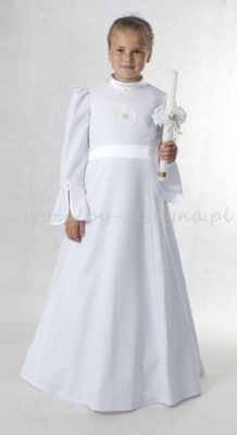 G264 Sukienka komunijna alba D8 128/134 biała.lam.