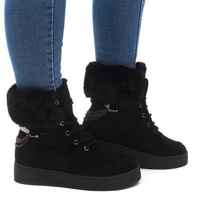 Czarne Sneakersy Ocieplane Trampki Futerko 38