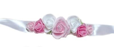 Kwiatowy pasek do sukienki bialy chrzest