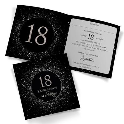 Zaproszenia na 18 Urodziny CZARNE2 10szt - KREATOR