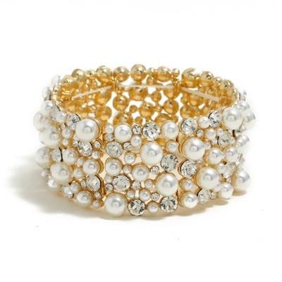 Bransoletka perły kryształki złota szeroka bangle