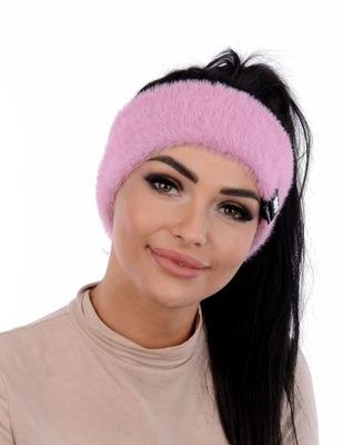 Opaska zimowa damska z alpaki LEMA różowa