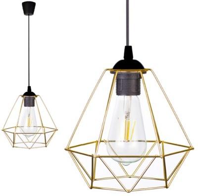 LAMPA WISZĄCA SUFITOWA ŻYRANDOL DIAMENT LED ZŁOTO