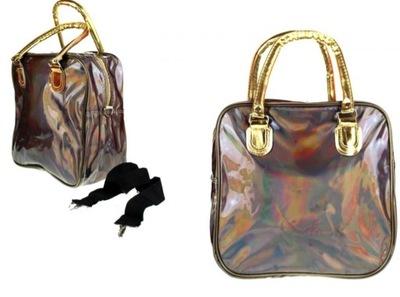 Holograficzna torebka podręczna podróżna brązowa