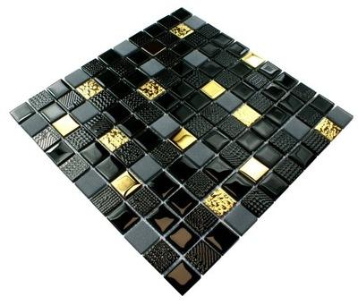 Мозаика СТЕКЛЯННАЯ золота, черная Вулкан gold керамист