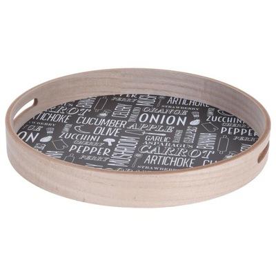 Taca do serwowania OKRĄGŁA drewniana z uchwytami