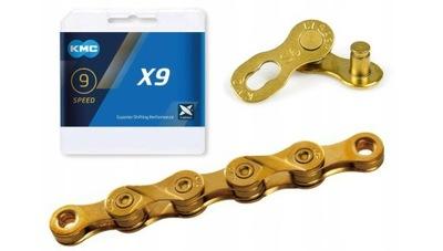 KMC X9 Gold Łańcuch Rowerowy 9 speed/114 BOX