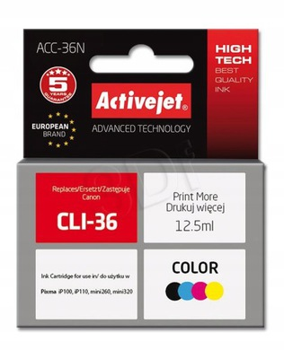 TUSZ ACTIVEJET CANON ACC-36N CLI-36N KOLOR
