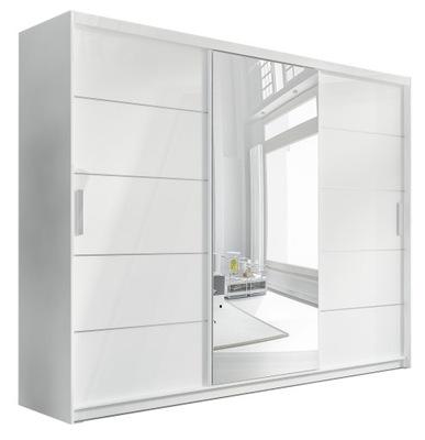 Большая шкаф Купе ? зеркалом и ящиками белая