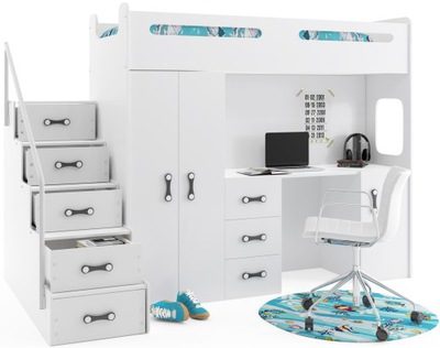Łóżko piętrowe z biurkiem dla dzieci Max 4 Materec