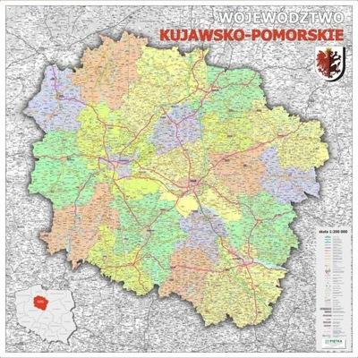 WOJEWÓDZTWO KUJAWSKO-POMORSKIE MAPA ŚCIENNA P.