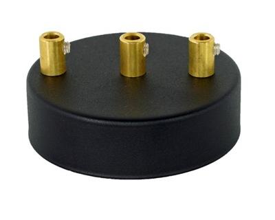 Podsufitka metalowa 3 otwory 100mm czarna +mosiądz
