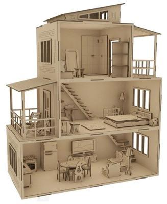 Domek Dla Lalek PIĘKNY 3 piętrowy DREWNO SKLEJKA