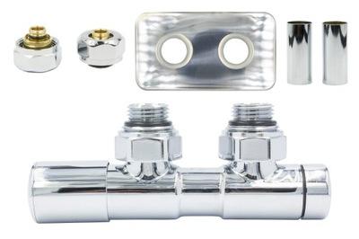 Regulačný ventil Dvojčatá 50mm chróm + PEX konektory + rozety
