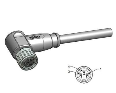 Wtyk żeński kątowy M8 3-piny przewód 2m (42-10016)