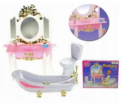 kúpeľ pre bábiky márnosť a zrkadlo WC, kúpeľňa mydlo